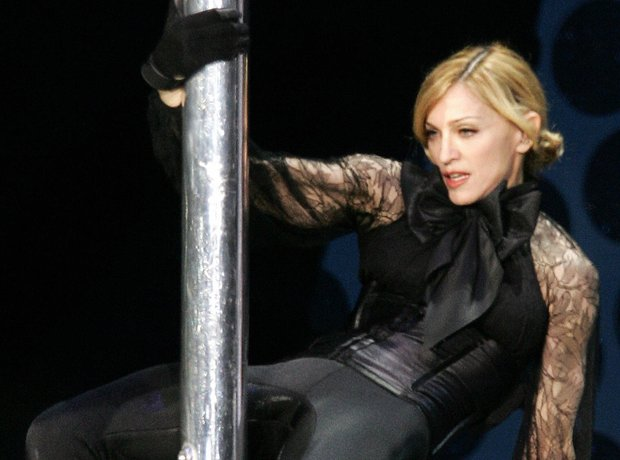 Madonna perfroms on stage