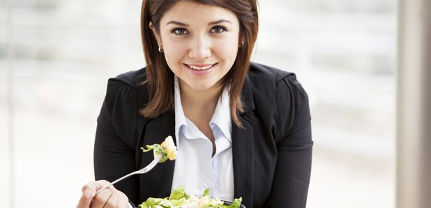 Woman Working Lunch