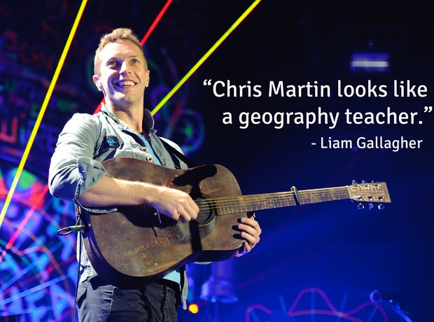 famous star insults liam gallagher chris martin